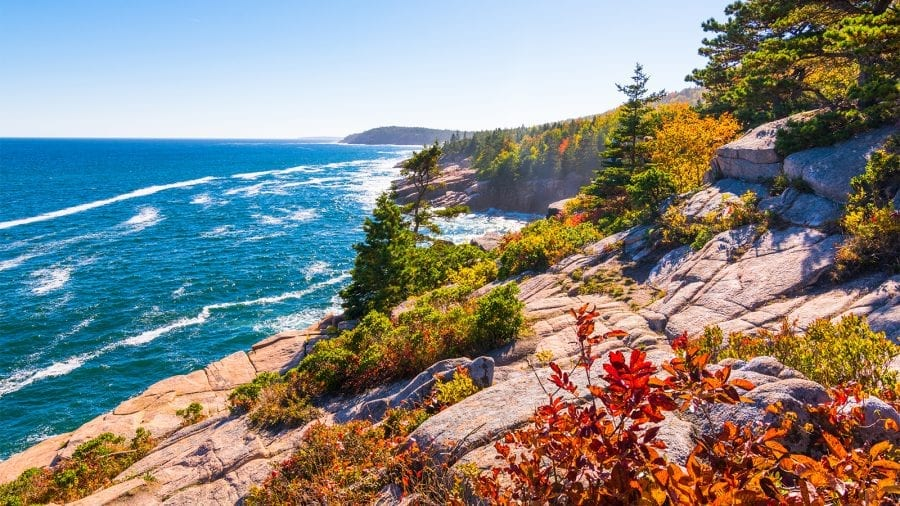 Coastline at Acadia National Park in the Fall