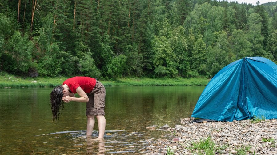 How do I wash my hair while backpacking
