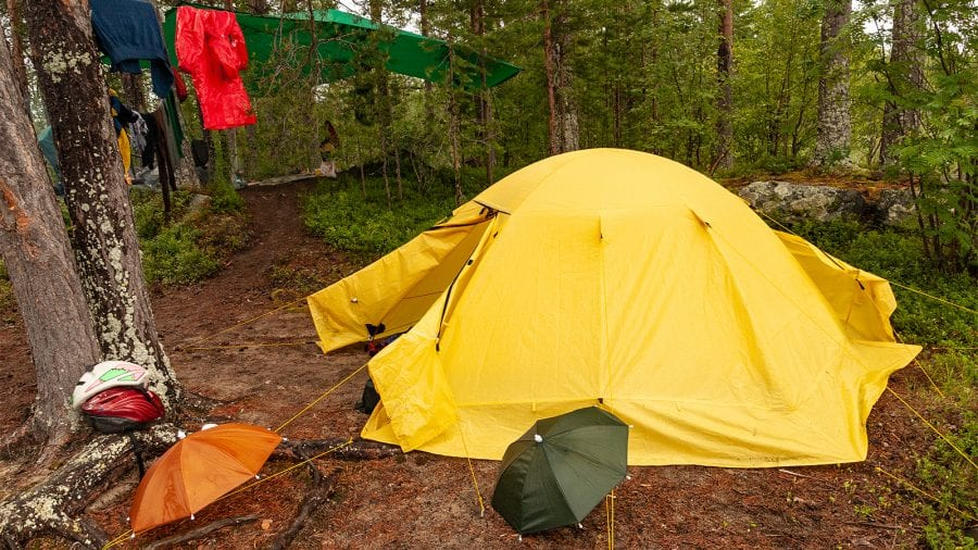 Keep wet gear outside the tent