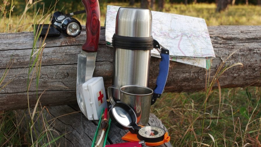 Survival gear in the woods