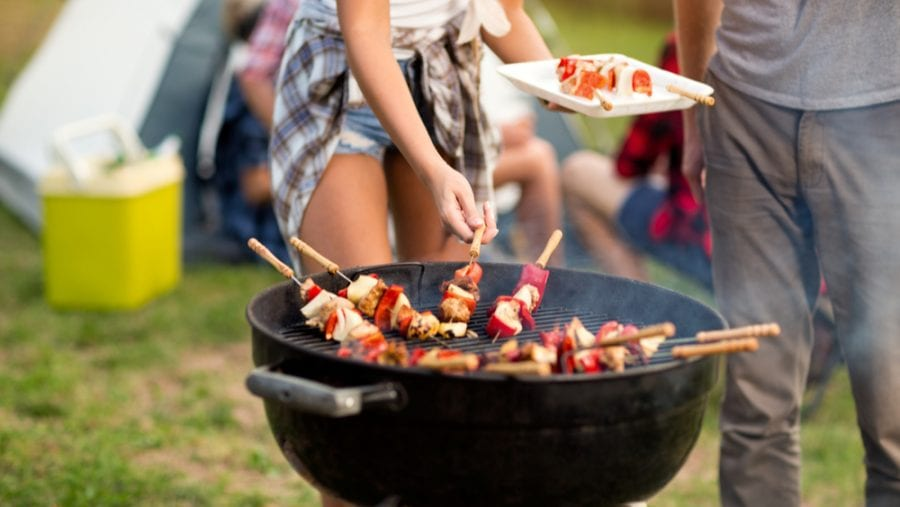 barbecue grill at a music festival