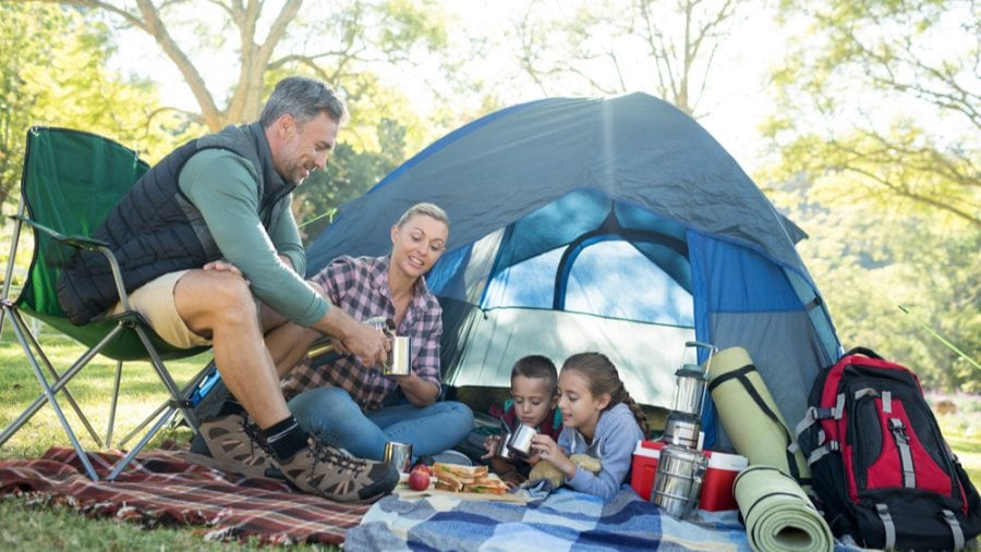 blue family camping tent