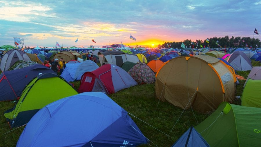 colorful tents on a festival camp