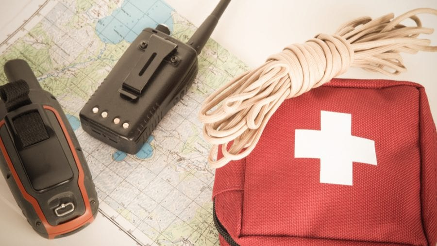 first aid kit with navigation tools