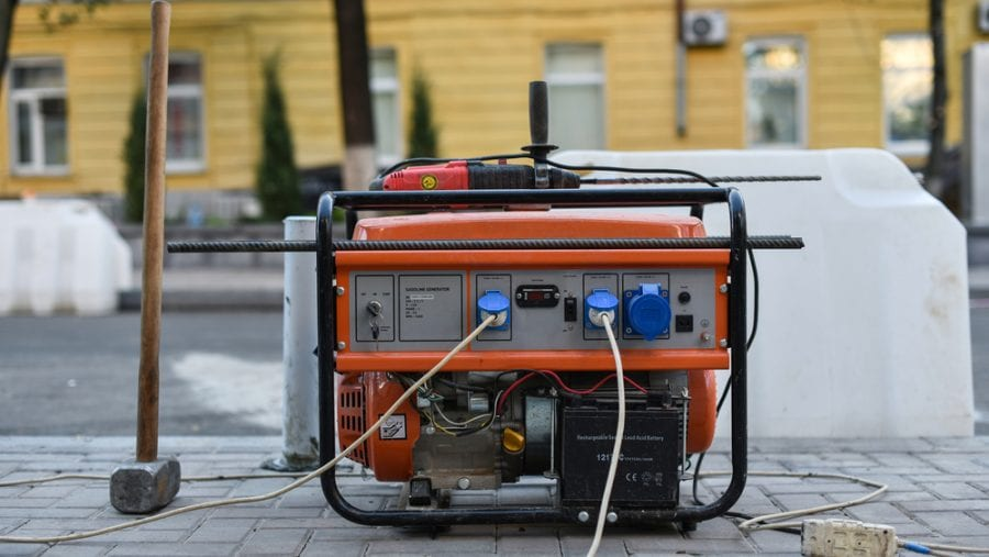 generator on a rubber footing