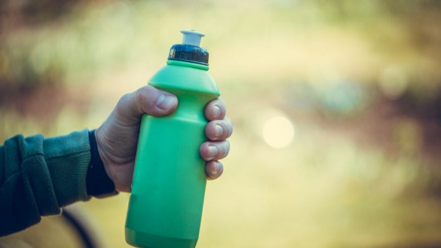 green camping water bottle