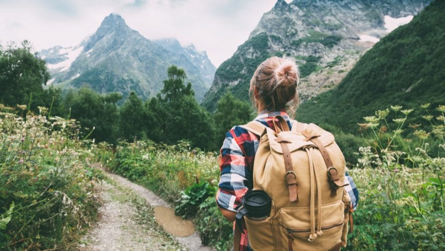 hiker with a hiking backpack