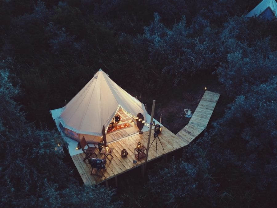 A Glamping Tent from Above