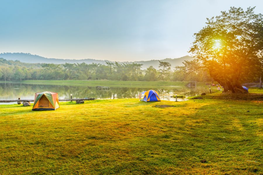 camping tents distanced from each other
