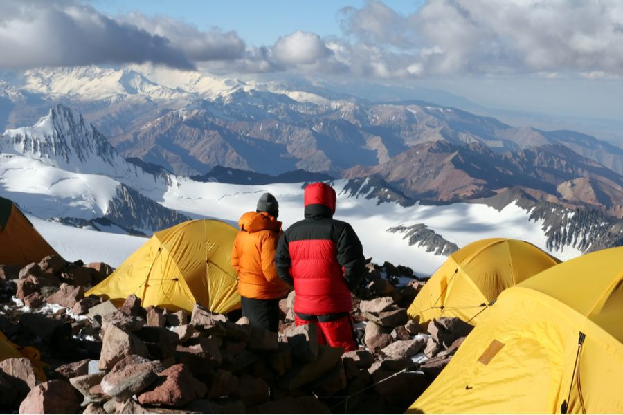 group of climbers acclimating at camp