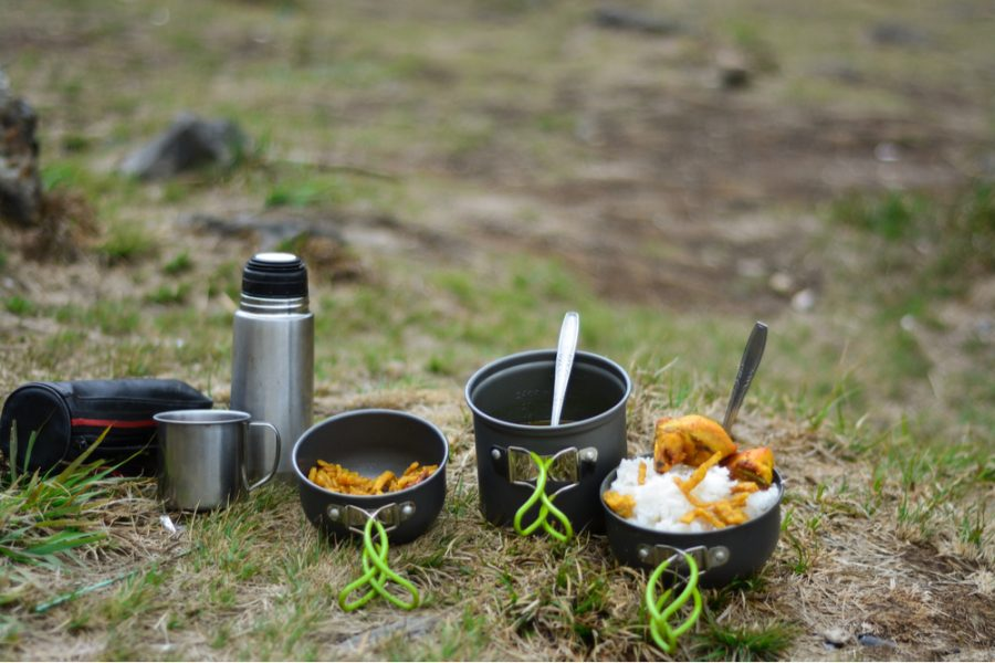 healthy food on a camping cooking gear