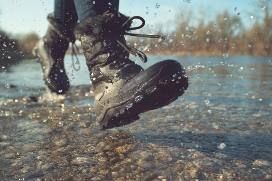 Waterproof hiking boots in action