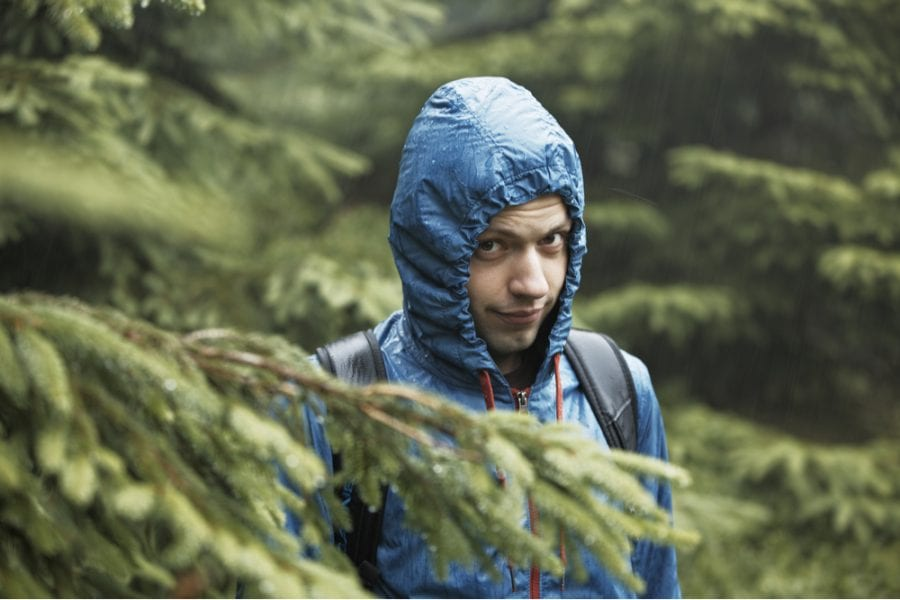 Young Man with Blue Rain jacket