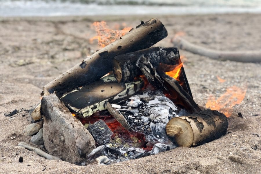 bonfire unattended at the beach